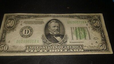 1934 d $50 dollar Bill American Currency fifty Dollar Federal Reserve Note