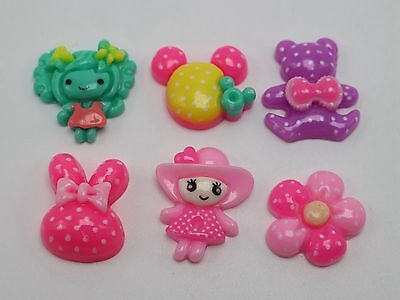 50 Assorted Colourful Flatback Resin Girl Rabbit Mouse Bear Flower Cabochon DIY