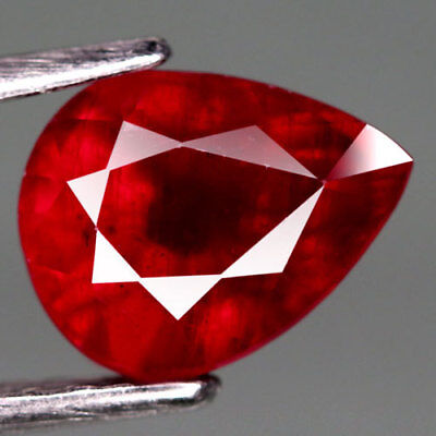 2.63Ct.excellent! Pear Facet Top Blood Red Natural Ruby Madagascar