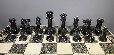 Antique Jaques Staunton Weighted Club Chess Set In Excellent Condition With Box