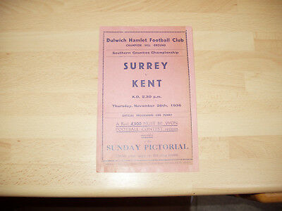 Surrey v Kent Southern Counties Championship 1936/7 at Dulwich Hamlet