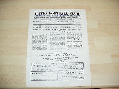 Hayes 'A' v A.S.C. Dudweiler ( Germany ) & Hayes v Hitchin Athenian Lge 1954/5