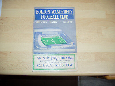 Bolton v C.D.S.A. Moscow Friendly 1957/8