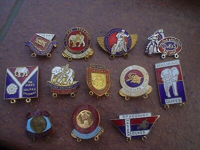 12   Different  Halifax  Speedway Badges   Good  Con In Gold & Silver