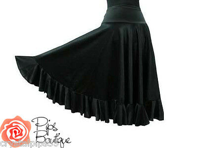 New Ladies Spanish Flamenco Practice Dance Frill Skirt Black Sizes S M L XL XXL