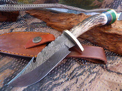 X Guthook Horn Damascus Steel Fixed Blade Knife Filework 20Cm Brass Tool Hunting
