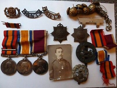 South Africa Victoria Medal  Cpl. + Wwi Medal Sjt + Long Service Medal Hampshire