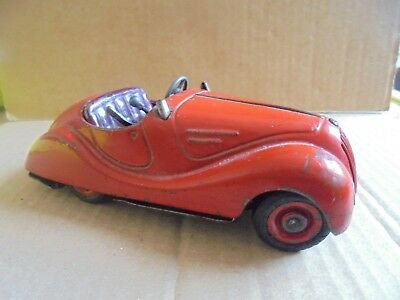 German Tin Plate Car With Working Features - In Need Of Restoration
