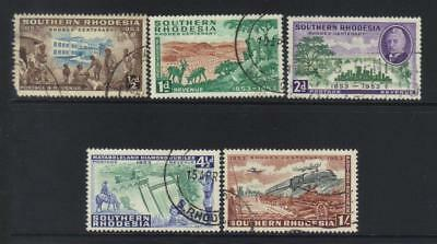 Southern Rhodesia 1953 Birth Cent Of Cecil Rhodes Used Set Of 5