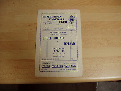 Great Britain v Iceland Olympic Qualifier 1963/4 at Wimbledon