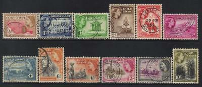 Gold Coast 1952-1954 Defins Used Set Of 12 Cat £26+