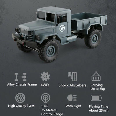 1:16 RC Rock Crawler 2.4G 4WD Military Truck Off Road Remote Control Vehicle