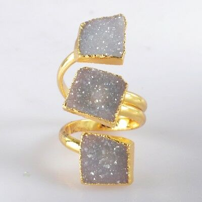 Size 4.5 Natural Agate Druzy Geode Adjustable Ring Gold Plated H103642