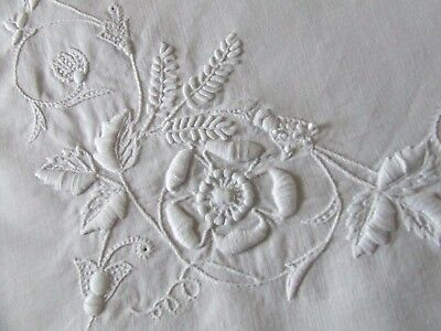 Beautiful White Linen Hand Embroidered Monogram Table Center/ Tray Cloth.