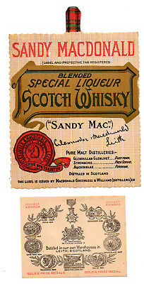 1920s ALEXANDER & MACDONALD, LEITH, SCOTLAND SANDY MACDONALD WHISKEY LABEL SET