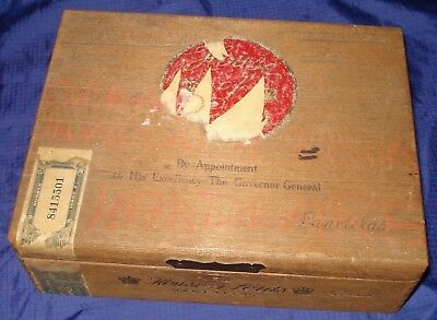 KM392 Vtg House of Lords Wooden Wood Cigar Box