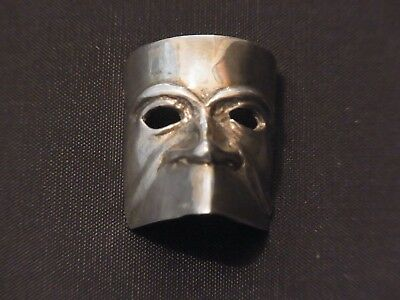 Small Silver FACE MASK Jewellery Plaque marked 800 - Silver Decorative Mask