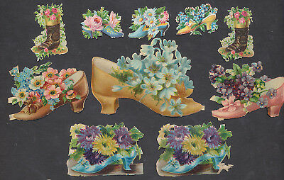 S8411 Victorian Die Cut Scraps: 10 Shoes & Flowers