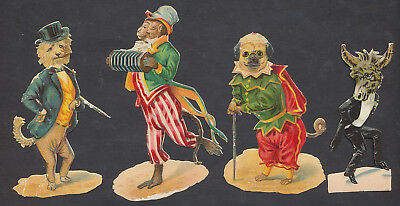S8414 Victorian Die Cut Scraps: 4 Anthropomorphic Animals