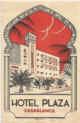 HOTEL PLAZA luggage MAROC label (CASABLANCA)