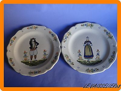 Vintage Two Plates French Faience Hb Quimper