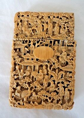 SUPERB 19TH CENTURY CHINESE c1880 CARVED CARD CASE
