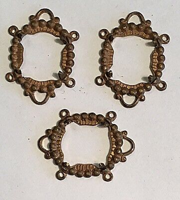 VINTAGE 1930'S DETAILED 10MM x 12MM 4 RING PATINA BRASS SETTINGS 10 PCS