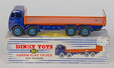 Dinky 903 Foden Flat Truck with Tailboard. Blue/Orange. Boxed. Original 1950's