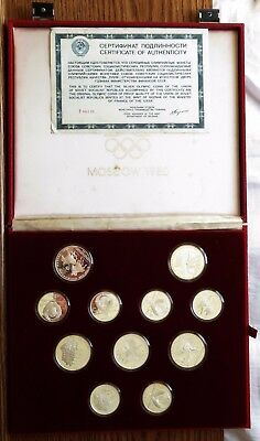 1980 Soviet Union Olympic Proof Silver Coins Set, Case & COA, Russian (140944N)