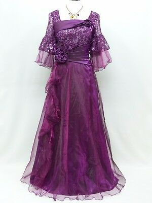 Cherlone Purple Ballgown Formal Bridesmaid Evening Full Length Wedding Dress 16