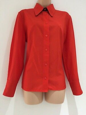 Vintage 1970's Retro Orangey Red Long Sleeve Silky Feel Shirt Size 14-16