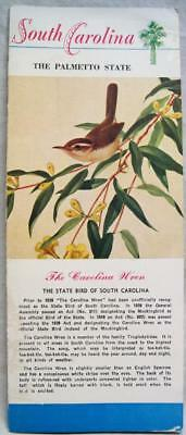 South Carolina Brochure Card Of State Facts Souvenir 1950 Vintage Tourism