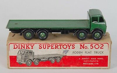 Dinky Supertoys 502 Foden Flat Truck. Green with Silver flash/Boxed. 1940's