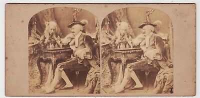 Stereoview-GENRE, The Problem, a game of chess with players in period costume
