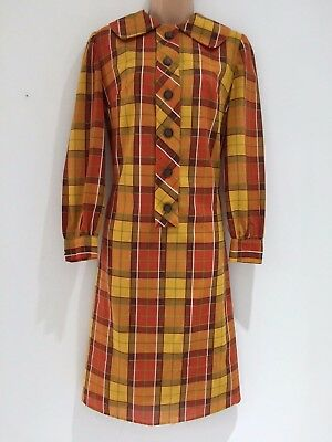 Vintage 60's Mod Rust Brown Mustard Check Print Cotton Mix Shift Dress Size 10