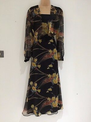 Vintage 70's Black Yellow & Grey Floral Chiffon Floaty Occasion Boho Maxi 16-18