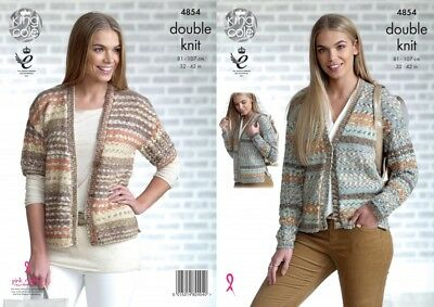 King Cole Ladies Cardigans Drifter Knitting Pattern 4854  DK (KCP-4854)