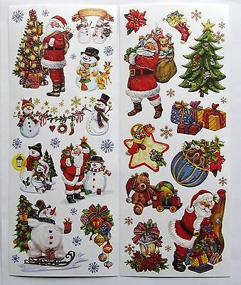 2 Large Sheet Glitter Embossed Adhesive Christmas & Snowman Toppers/Stickers /O