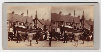 Stereoview-CORNWALL, Newquay lifeboat on horse drawn trailer with crowds, c1905