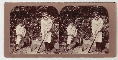 Stereoview-CHILDREN, Two young lads playing cricket in Bristol Garden, 1905