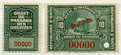 (I.B) Haiti Revenue : Embarkation Duty 10Fr (specimen)