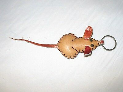 Handmade 3D Leather Keychain Keyring Rat Mouse Chinese Collectible Cute Zodiac