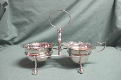 Vintage I F S  England Silver Plate Cream and Sugar in Holder