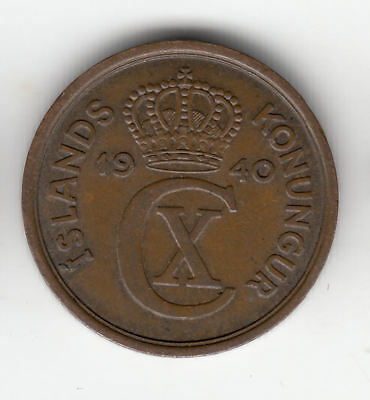 Iceland 2 Aurar 1940 Copper         274Z         By Coinmountain