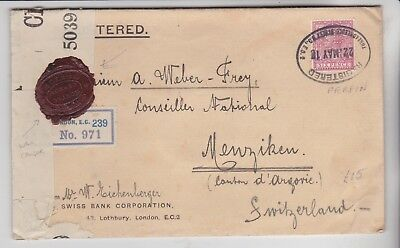 Gb Stamps 1918 Censored Reg Envelope Switzerland From Postal History Collection