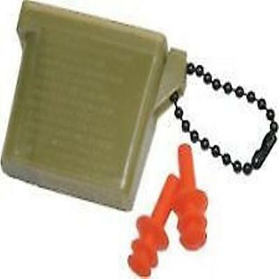 Military Issue Ear Plugs With Case And Chain   Medium Size