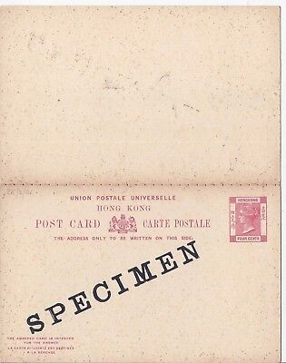 Hong Kong 1901 4c + 4c reply stationery card overprinted Specimen unused