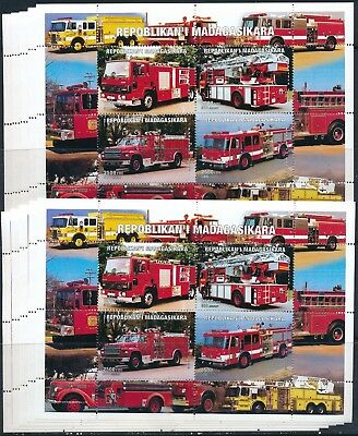 [STG34166] Madagasikara 1999 Firetrucks good sheets very fine MNH (x10)