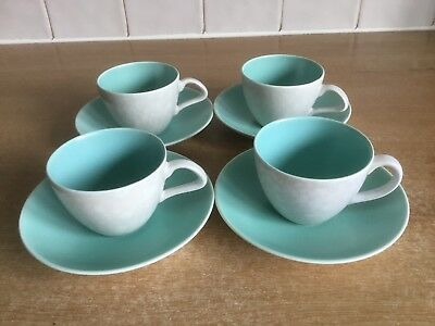 Poole Twintone Ice Green & Seagull C57 - 4 X Espresso Cups and Saucers