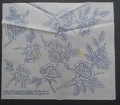 A VINTAGE 1930s GOOD NEEDLEWORK EMBROIDERY TRANSFER FLOWERS (6)